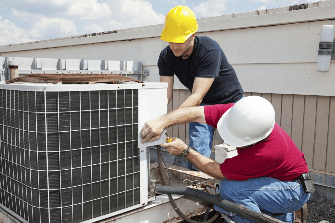 hvac specialists working on a commerical building in ontario canada